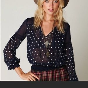 Free People Navy and Cream Polka Dot Blouse